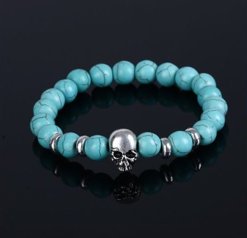 resell for 15.00 or more Turquoise Magnesite Skull Bracelet. Fits 7 to 8 inch Pewter skull Style #TMSB113017g