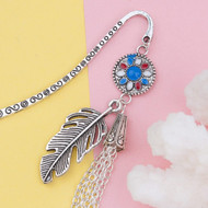 "resell for 12.00 or more Bookmark Tassel Antique Silver White & Blue Enamel Feather 86mm(3 3/8"") x 15mm( 5/8"") Style #FTB113017g"