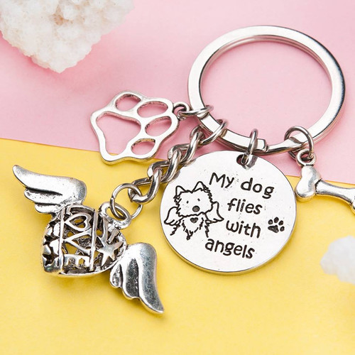 """resell for 9.00 or more Pet Memorial Keychain & Keyring Heart Antique Silver Wing Message 7.2cm(2 7/8"""") x 4cm(1 5/8"""") Style #PMK120117g"""