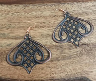 """Resell for 8.00 or more Antiqued copper laser lace Light weight Copper earwires 2 1/8 """" x 2"""" Style #CLLE120717g"""