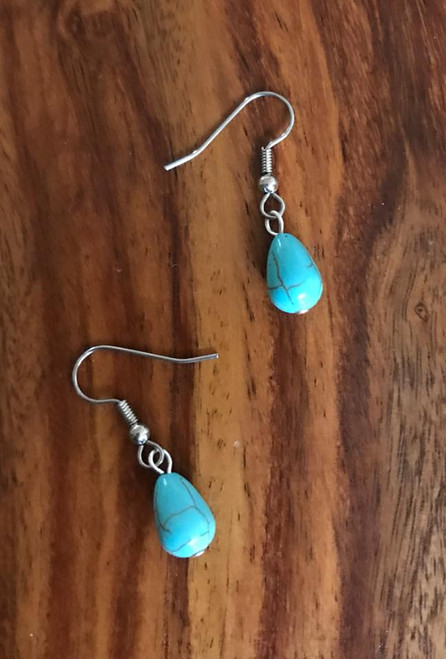 Resell for 5.00 or more Turquoise magnesite  Surgical steel ear wires Style #TMTE120717g