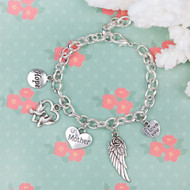 """resell for 15.00 or more Charm Bracelets Silver Plated Wing Heart Pendants Message """"Hope & Mother & I Love You"""" Carved Clear Rhinestone 20cm(7 7/8"""") long Style #CBMW120817g"""