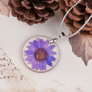 "resell for 12.00 or more Transparent Resin Dried Flower Necklace Ball Chain Silver Plated Purple Round 45cm(17 6/8"") long Style #PTRFN120817g"