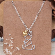 """resell for 9.00 or more Origami Necklace Silver Plated Rabbit Animal Heart 45cm(17 6/8"""") long, 1 Style #OBN120817g"""
