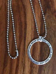 Resell for 12.00 or more Stainless steel 23 inch ball chain Pewter ring 1 3/8 diameter  Says love dream hope trust! Style #LDHTN120917g
