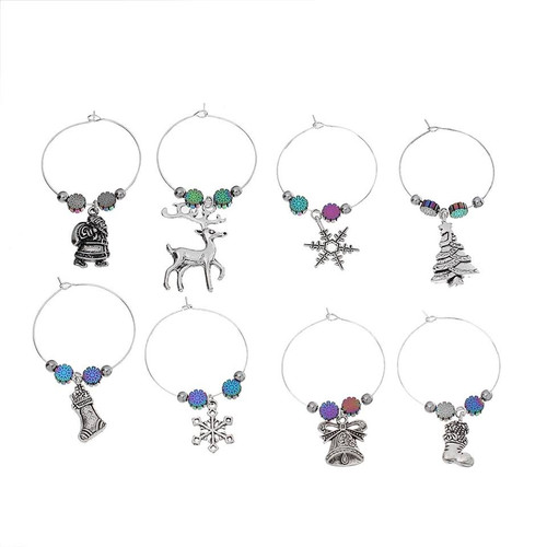 resell for 1800 or more zinc based alloy wine glass charms mixed christmas decorations antique silver - Christmas Wine Charms