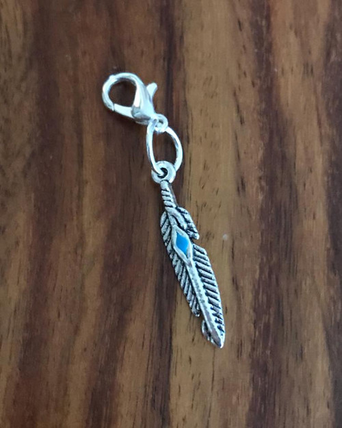 Resell for 6.00 or more Pewter feather blue enamel Lobster clasp bauble charm Style #EFB121117g