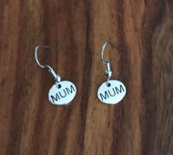 Resell for 5.00 or more Pewter mum charm Surgical steel ear wires Style #MUME121117g