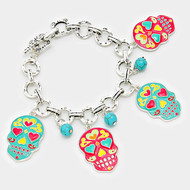 "resell for 60.00 or more • Color : Antique Silver, Multi, Turquoise • Theme : Halloween  • Size : 7.5"" + 1"" L, 1.75"" L • Enamel Day of the Dead Mexican Sugar Skull Charm Bracelet Style #PTDDB121217g"