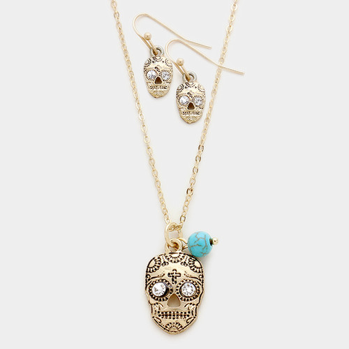 """resell for 36.00 or more • Color : Clear, Matte gold, Turquoise • Theme : Halloween  • Necklace Size : 18"""" + 3"""" L • Pendant Size : 0.6"""" X 0.9""""  • Earrings Size : 0.6"""" L • Day of the dead pendant necklace Style #DDGNS121217g"""