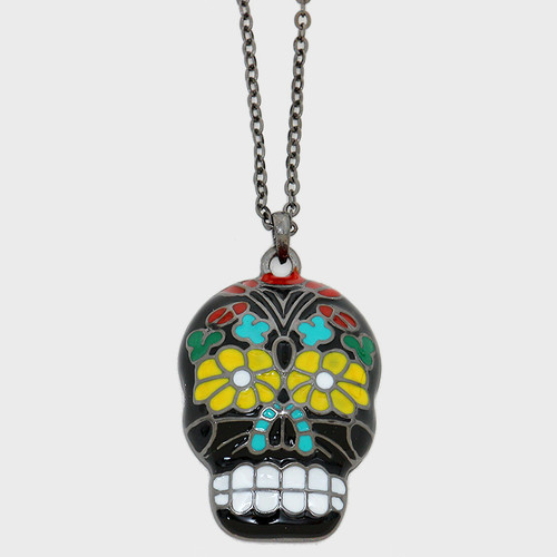 """resell for 27.00 or more • Color : Hematite, Multi • Theme : Halloween  • Necklace Size : 17 1/2"""" L • Pendant Size : 3/4"""" X 1 3/8"""" • Enamel Day of the Dead Skull Pendant Necklace Style #GMDDN121217g"""