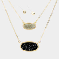 "resell for 45.00 or more • Color : Black, Gold, Gray  • Necklace Size : 16"" + 3"" L • Decor Size : 0.5"" X 1"" • Earring Size : 0.2"" L • Material : Lead and nickel compliant • Layered Genuine Druzy Pendants Necklace Style #GDNS121217g"