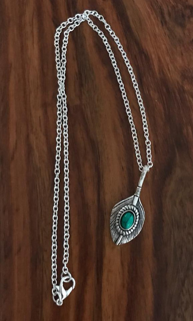 "Resell for 12.00 or more Pewter feather turquoise magnesite 1 4/8 x 5/8"" 18 inch silver tone chain Style #TMFN121517g"