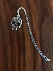 Resell for 9.00 or more Pewter ornate sugar skull Bookmark Style #OSBM121517g