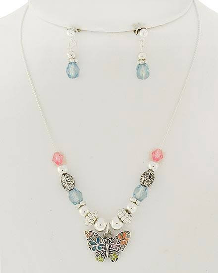 "resell for 21.00 or more Kids / Silver Tone / Multi Color Epoxy & Acrylic / Lead&nickel Compliant / Butterfly Pendant / Necklace & Post Earring Set  •   LENGTH : 14 1/4"" + EXT •   EARRING : 3/4"" L •   DROP : 3/4"" L  •   SILVER/MULTI Style #CBNS122717g"