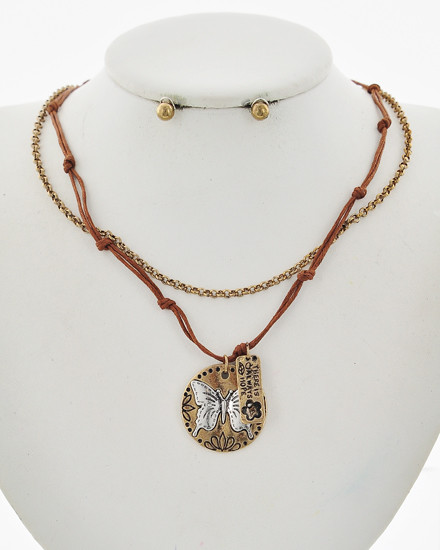 "resell for 30.00 or more Says There is always hope Antique Burnished Gold Tone / Brown Cord / Lead Compliant / Metal / Post (earrings) / Multi Strand / Butterfly & Flower / Layer / Necklace & Earring Set Style #BCBNS122717g  •   LENGTH : 17"" + EXT •   PENDANT : 1"" X 1 1/8"" •   EARRING : 3/16"" DIA  •   B.GOLD/BROWN"