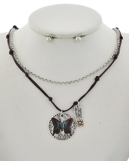 "resell for 30.00 or more Says There is always hope Antique Burnished Silver Tone / Black Cord / Lead Compliant / Metal / Post (earrings) / Multi Strand / Butterfly & Flower / Layer / Necklace & Earring Set  •   LENGTH : 17"" + EXT •   PENDANT : 1"" X 1 1/8"" •   EARRING : 3/16"" DIA  •   B.SILVER/Black Style #BCBN122717g"