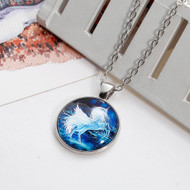 "resell for 12.00 or more Glass Necklace Silver Tone White & Blue Unicorn Round 51.5cm(20 2/8"") long Style #UPBN122917g"