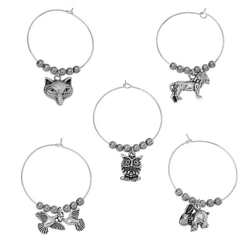 "resell for 12.00 or more Zinc Based Alloy Wine Glass Charms Mixed Animal Antique Silver Hematite Beads 40mm(1 5/8"") x 35mm(1 3/8""), 1 Set(5 PCs/Set) Style #HAWCH122917g"
