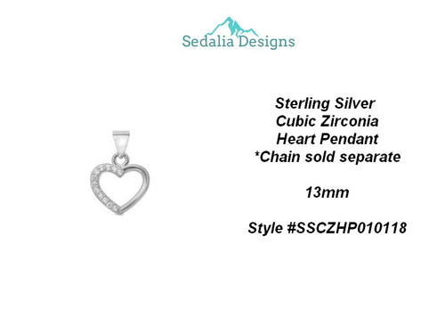 Sterling Silver Cubic Zirconia  Heart pendant  13 mm  **see sterling chains in many lengths