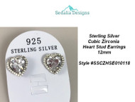 Sterling Silver CZ Heart Earrings 12 mm
