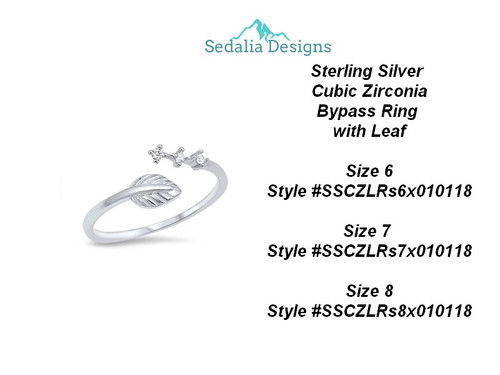 Sterling Silver  Cubic Zirconia Bypass Ring  with Leaf