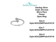 Sterling Silver  Cubic Zirconia Micro Pave Flower Open Ring  size 8