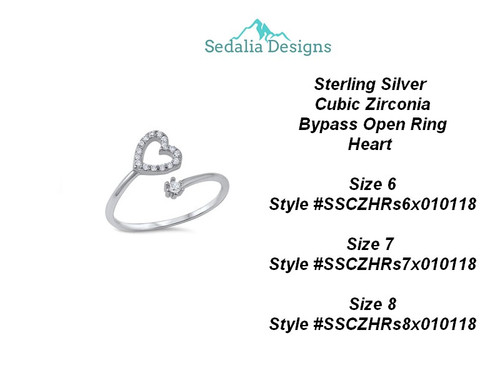 Sterling Silver  Cubic Zirconia Bypass Open Ring Heart  size 6
