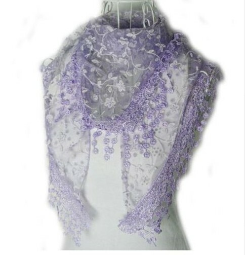 """BE SURE TO PUT """"SCARF"""" IN THE SEARCH....WE HAVE DOZENS TO CHOOSE FROM STARTING AT 6.00 AND EACH GIVES BACK! **This purchase will also donate 1 scarf with earrings to a cancer patient**   resell for 27.00 or more **Also at your consultants website 100% Polyester 53x65 inch Lavender fancy lace scarf Style #LFLS010118g"""