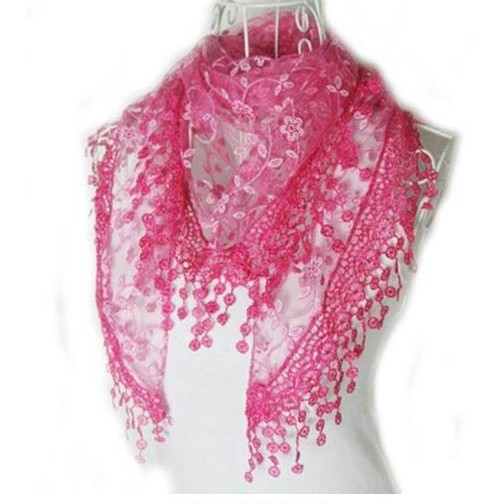 """BE SURE TO PUT """"SCARF"""" IN THE SEARCH....WE HAVE DOZENS TO CHOOSE FROM STARTING AT 6.00 AND EACH GIVES BACK! **This purchase will also donate 1 scarf with earrings to a cancer patient**  3 available 9.00 resell for 27.00 or more **Also at your consultants website 100% Polyester 53x65 inch Hot Pink fancy lace scarf Style #HPFLS010118g"""