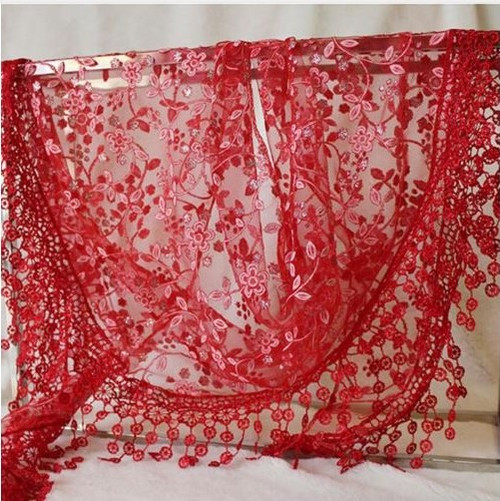 """BE SURE TO PUT """"SCARF"""" IN THE SEARCH....WE HAVE DOZENS TO CHOOSE FROM STARTING AT 6.00 AND EACH GIVES BACK! **This purchase will also donate 1 scarf with earrings to a cancer patient**    resell for 27.00 or more  100% Polyester 53x65 inch Red fancy lace scarf Style #RFLS010118g"""
