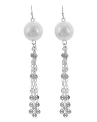 "resell for 27.00 or more Silver Tone / White Synthetic Pearl / Lead&nickel Compliant / Metal / Fish Hook / Dangle / Earring Set  •   WIDTH X LENGTH : 1/2"" X 3 1/2""  •   SILVER/WHITE Style #PDTE010218g"