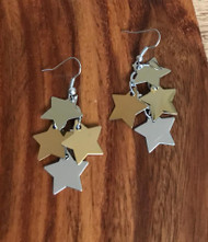 Resell for 9.00 or more Gold tone silver tone Star 2 inch dangle Surgical steel ear wires Style #TTSLLE010418g