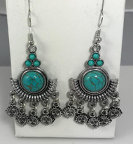 Resell for 18.00 or more Boho chic Turquoise magnesite  Pewter 2.5 inch drop Sun face Surgical steel ear wires Style #BCTSE010418g