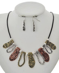 """resell for 45.00 or more **Now only at your consultants website Multi Tone / Black Cord / Lead Compliant & Nickel Free / Metal / Fish Hook (earrings) / Necklace & Earring Set  • LENGTH : 19"""" + EXT • EARRING : 1/4"""" X 1 1/2"""" • DROP : 1 1/2""""  • MULTI Style #TTHMNS010618g"""