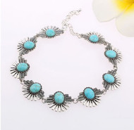 resell for 30.00 or more Pewter and turquoise magnesite choker 12.5 inches with 2.5 inch ext chain Style #SWTCN010918g