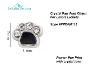 Pet Paw Black Enamel with Crystal Toes  Approx 8 mm   fits Lana's Lockets