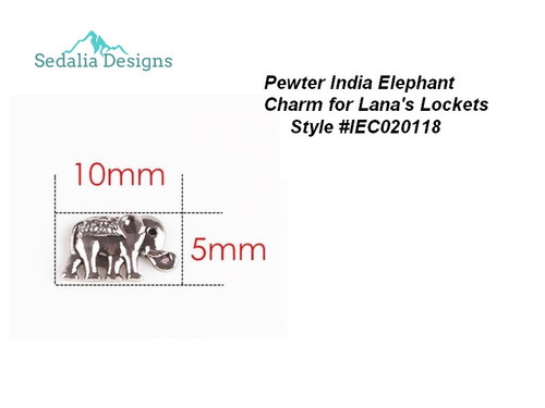 India style elephant charm  aprox 7 mm  pewter