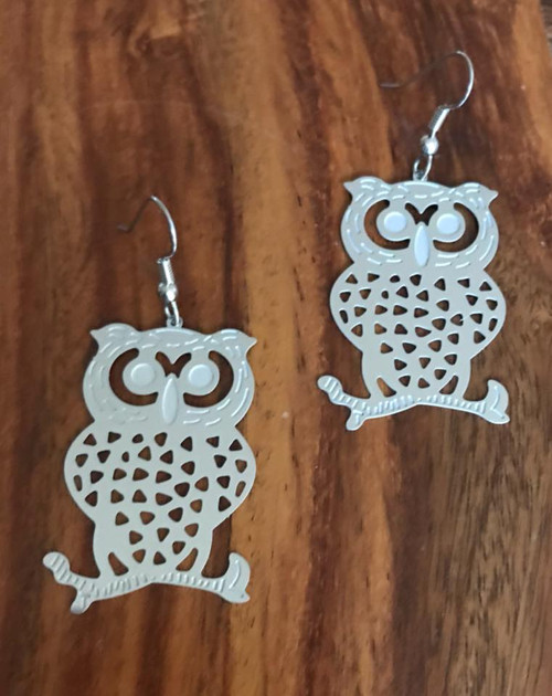 Resell for 10.00 or more Ornate owl Laser lace  2 inch x 1 inch Surgical steel ear wires Style #LLOE011118g