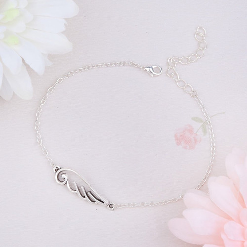 "resell for 9.00 or more Anklet Wing Connector Link Cable Chain Silver Plated 21cm(8 2/8"") long Style #AWA011118g"