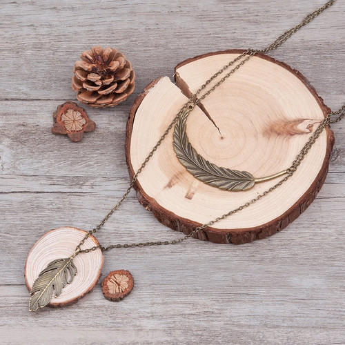 """resell for 15.00 or more Fashion Vintage Double Layer Necklace Link Cable Chain Antique Bronze Feather Pendants 55.0cm(21 5/8"""") long at shortest. Style #ADLN011118g"""