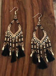 Resell for 15.00 or more Gold tone.  Boho chic black tassel 4 inches long Style #GBCE011317g