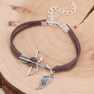 "resell for 6.00 or more Faux Suede Velvet Bracelets Antique Silver & Silver Plated Coffee Bow And Arrow Wing Hollow 16.5cm(6 4/8"") plus ext Style #BBAWB011818g"