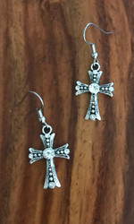 Resell for 9.00 or more Pewter cross clear crystal Surgical steel ear wires Style #CCE011818g
