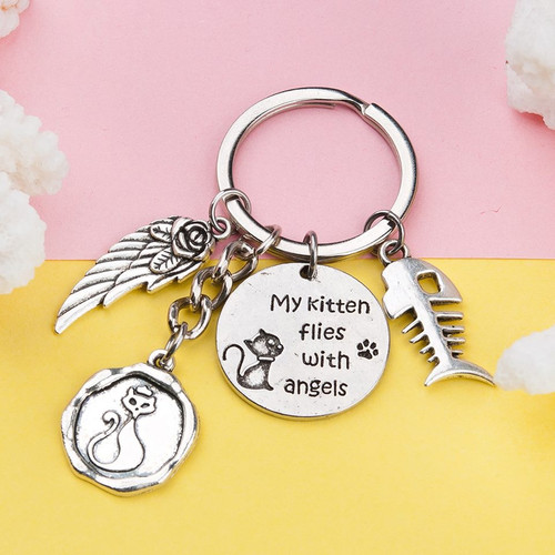 """resell for 9.00 or more Pet Memorial Keychain & Keyring Fish Bone Antique Silver Cat Message Wing 7.5cm(3"""") x 3cm(1 1/8"""") Style #KMK011818g"""