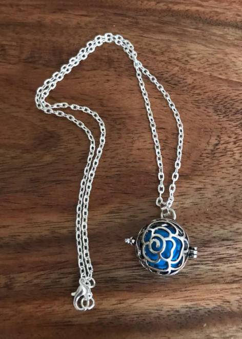 Resell for 18.00 or more Harmony ball angel caller pendant  Rose design Pewter cage turquoise ball 20 inch silver tone chain Style #ACBN011818g