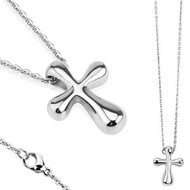 """resell for 36.00 or more Stainless Steel Necklace with High Polished Cross Pendant Lobster Claw Clasp Closure, Chain Length of 22"""", Pendant Dimensions: 23MMx18MM, Thickness: 7.5MM Style #SSCN012218g"""