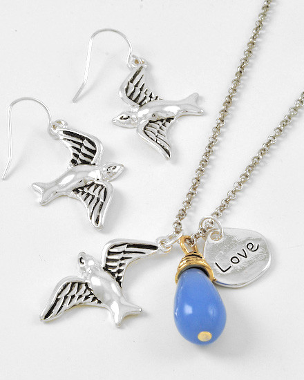 """resell for 36.00 or more Two-tone / Blue Glass / Lead&nickel Compliant / Animal / Bird W/love / Charm Style / Necklace & Fish Hook Earring Set  •   LENGTH : 16"""" + EXT •   EARRING : 1 5/8"""" L •   CHARM : 1 1/8"""" L  •   A.SILVER/BLUE Styles #SBBNS012318g"""