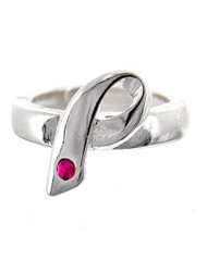 "resell for 21.00 or more Silver Tone Metal / Fuchsia Rhinestone / Lead&nickel Compliant / Pink Ribbon / Stretch Ring  •   SIZE FREE : STRETCH •   WIDTH : 3/4""L  •   SILVER/PINK Style #ARR012318g"