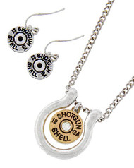 "resell for 30.00 or more Two Tone / Lead&nickel Compliant / Metal / Fish Hook (earrings) / Western Theme / Bullet / 12ga Shotgun Shell / Pendant / Necklace & Earring Set  •   LENGTH : 18"" + EXT •   PENDANT : 1"" X 1 1/8"" •   EARRING : 7/8""  •   BURN.SILVER/BURN.GOLD Style #TTBNS012918g"